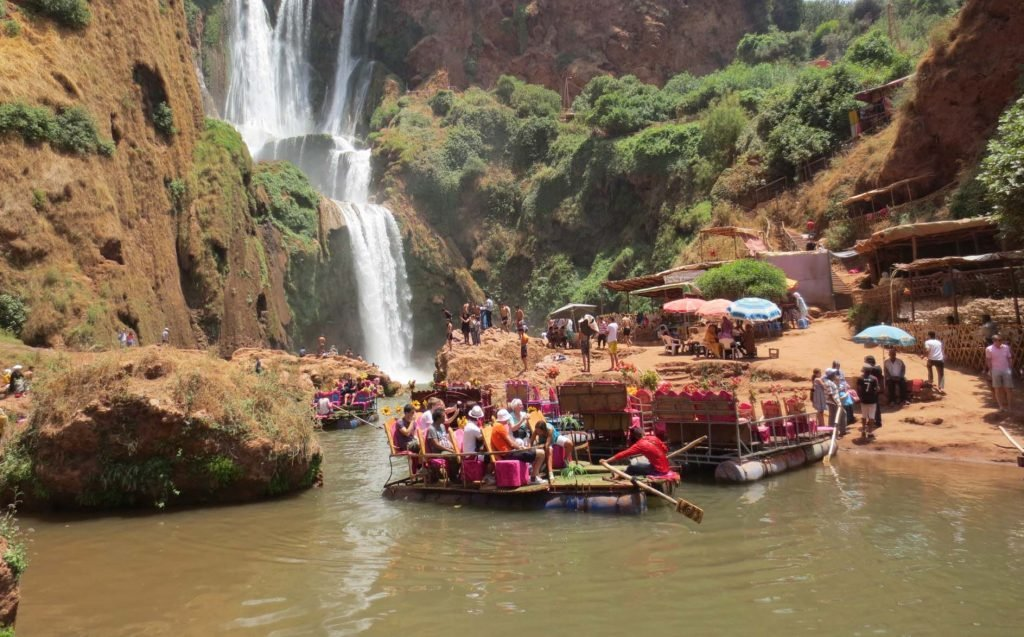 At the Ouzoud Waterfall in Morocco the boats have a very peculiar design