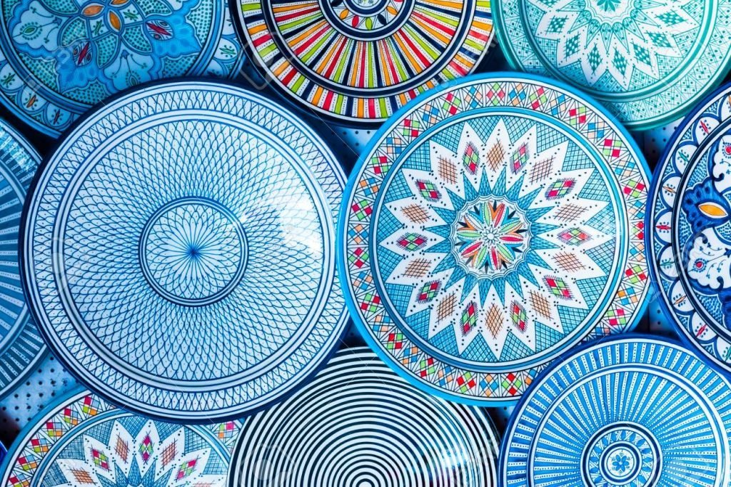 Beautiful colorful and traditional dish plates, Morocco in Africa